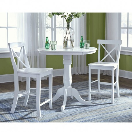 "Hampton 3 PCS 36"" High Dinette Set in pure white"