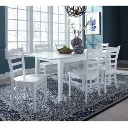Hampton 7 PCS Dining Set in Pure White