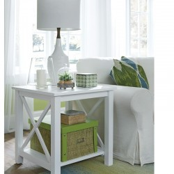 Hampton End Table in Pure White