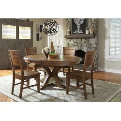 Canon round dining set - Pecan finish