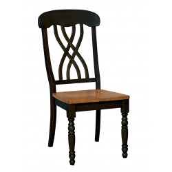 Madison Park Lattice back Chair - Black and Cherry Finish