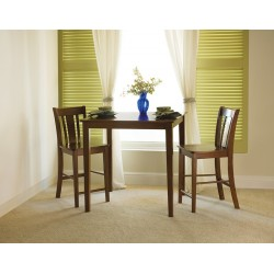 """Dining Essentials: 36"""" Square Top Shaker high Table and San Remo stools"""