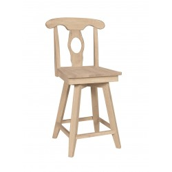Empire Swivel Stool with Wood Seat