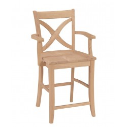 Vineyard Stool with Arm and Wood Seat