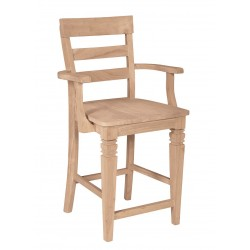 Java Stool with Arms and Wood Seat