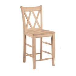 Double XX Back Stool with Wood Seat