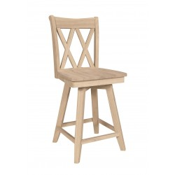 Double xx Back Swivel Stool with wood Seat