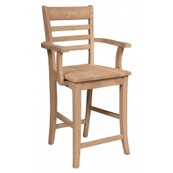 Roma Stool with Arms and Wood Seat