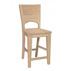 Canyon Full Back Stool with wood seat