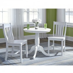 Hampton 3 PCS Dinette Set in Pure White