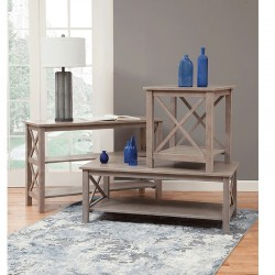 Hampton Long Sofa Table Weathered Gray Finish