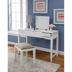 Upholstered Bench for Vanity White