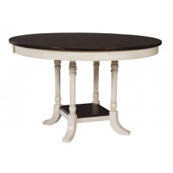 "Camden 48"" round dining table Eggshell and Walnut finish"