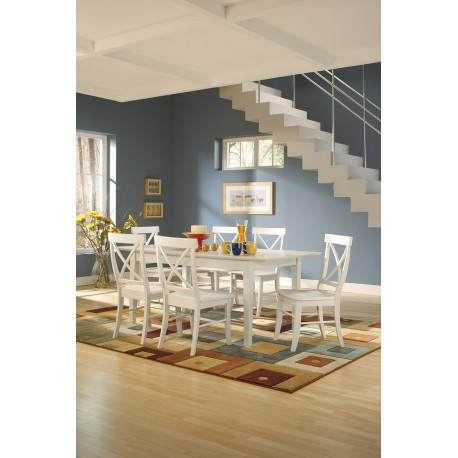 Simply Linen Extension Table and Six Cross Back Chairs