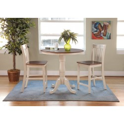 """Dining Essentials: 36"""" Round Top Pedestal Table and Two San Remo Stools"""