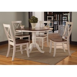 "Dining Essentials: 36"" Extension Pedestal table and Four Cross Back Chairs"