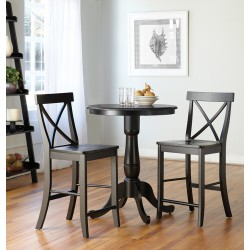 "Dining Essential: 30"" Round Top Pedestal Table and Two Cross Back Stools"