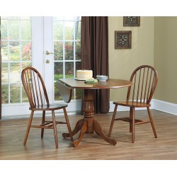 "Dining Essentials: 42"" Drop Leaf Table and Two Windsor Chairs"