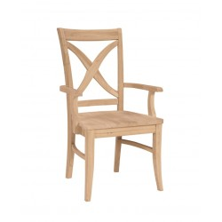Vineyard Curbed Cross  Back Arm Chair with Wood Seat