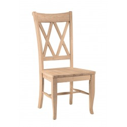 Double Cross back Chair with Wood Seat