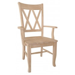Double Cross back Arm Chair with Wood Seat