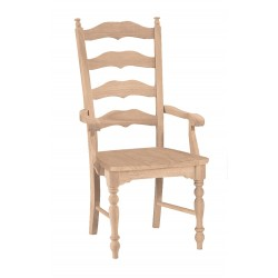 Maine Ladderback Arm Chair with Wood Seat
