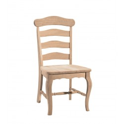Country French Ladderback Chair with Wood Seat