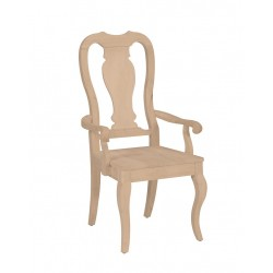 Queen Anne Arm  Chair with Wood Seat