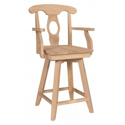 Empire Swivel Stool with Arm and Wood Seat