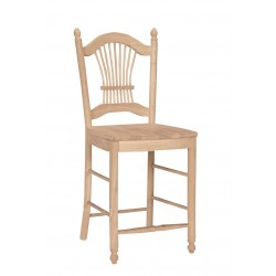 Sheaf Back Stool with Wood Stool