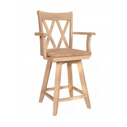 Double XX Back Swivel Stool with Arms and Wood Seat