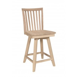 Mission Swivel Stool with Wood Seat