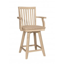 Mission Swivel Stool with Arm and Wood Seat