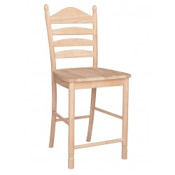 Bedford Ladderback Stool with Wood Seat