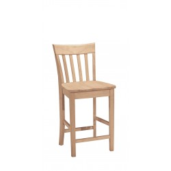 Slatback Stool with Wood Seat