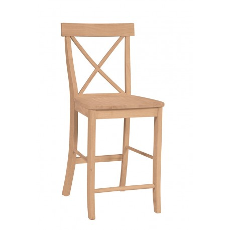 Cross Back Stool with Wood Seat